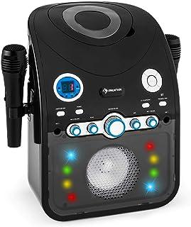auna StarMaker - Equipo de Karaoke, Reproductor de CD, Interfaz Bluetooth, Puerto USB, Entrada AUX, Efecto iluminación LED...