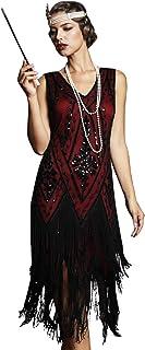 PrettyGuide Women's 1920s Flapper Dress Vintage Swing Fringed Roaring 20s Dress Burgundy M