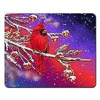 Onete 鳥マウスパッド 冬休みクリスマス雪マウスパッド 赤い枢機卿マウスパッドノートブック、デスクトップコンピュータのマウスマット、オフィス用品