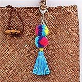Llaveros Mujer Bolso Accesorio Pompones con Borla Joyas-Azul