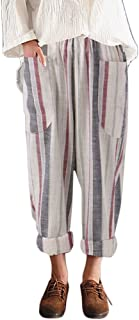 Qootent Women Cotton Long Trousers High Waist Vintage Striped Loose Harem Pants