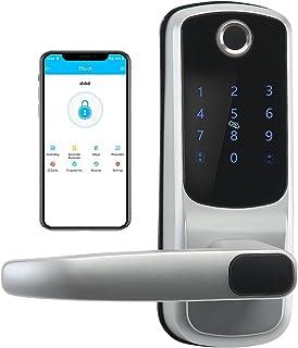 Smart Lock with Touchscreen, Bluetooth Electronic Deadbolt Door Lock Compatible with Fingerpint,App,Fobs,Passcodes,Keys,Alexa, Keyless Entry Keypad Lock with Handle