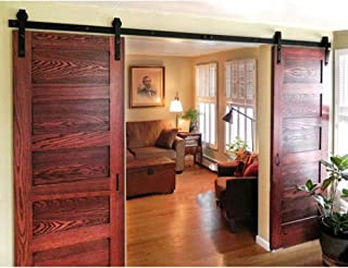 WINSOON 8FT Antique Double Sliding Barn Door Hardware Roller Track Kit Black, 4-18FT for Choose
