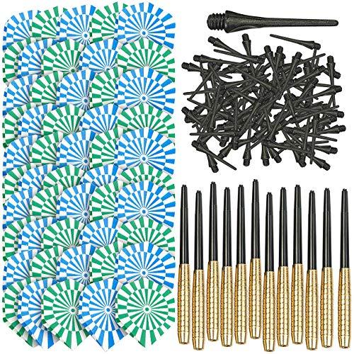 Playtastic Softdart: 12er-Set Messing-Dartpfeile mit Kunststoff-Spitze, 50 Flügel, 100 Tips (Soft Dartpfeile)