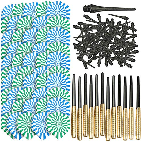 Playtastic Softdart: 12er-Set Messing-Dartpfeile mit Kunststoff-Spitze, 50 Flügel, 100 Tips (Softdartpfeile)