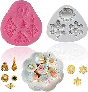 SAKOLLA Diamond Silicone Molds - Vintage Gemstone Fondant Mold for Cupcake Topper, Cake Border Decorating