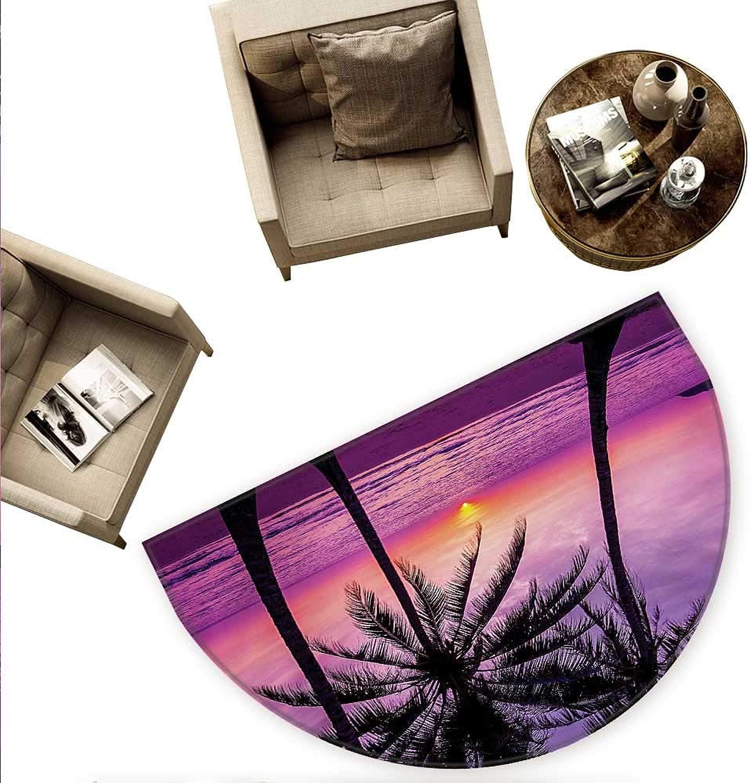 Ocean Half Round Door mats Palm Trees Silhouette at Sunset Dreamy Dusk Warm Exotic Twilight Scenery Image Bathroom Mat H 74.8  xD 112.2  Purple Black