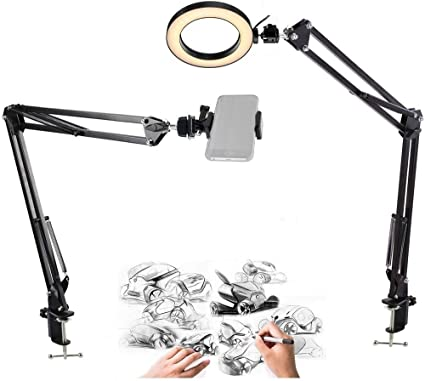 6-Inch Ring Light with 2 Suspension Arm Stand for Cell Phone