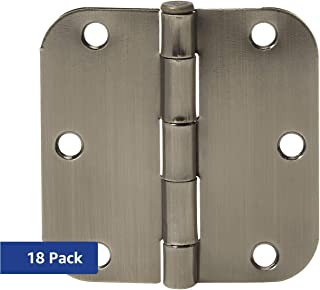 AmazonBasics Rounded 3.5 Inch x 3.5 Inch Door Hinges, 18 Pack, Satin Nickel