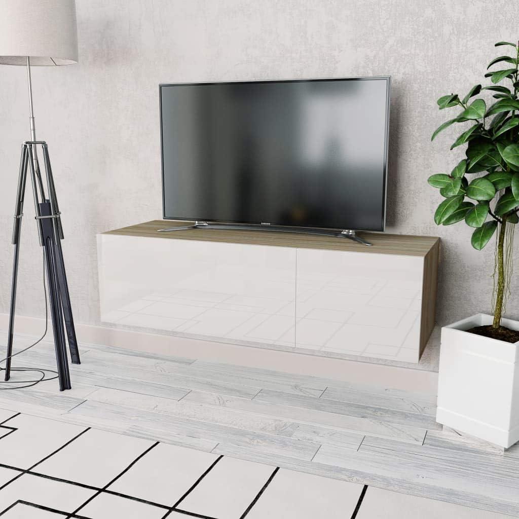Vidaxl Tv Schrank Mit 2 Fächern Fernsehtisch Fernsehschrank Lowboard Tv Möbel Tisch Board Sideboard Hifi Schrank Spanplatte 120x40x34cm Hochglanz Weiß Garten