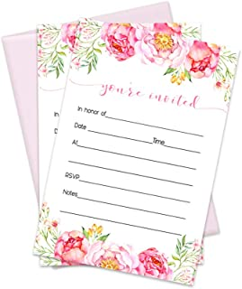 Floral Invitations with Pink Envelopes (15 Pack) Any Celebration