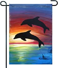 Amuseds Welcome Cute Dolphins Custom Sided Garden Flag, Premium Material, Animals Outdoor Funny Decorative Flags for Garden Yard Lawn, Gift for Children, 12 x 18 inch