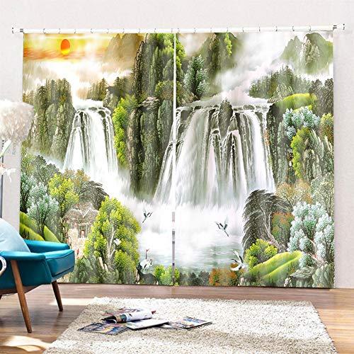 SK Studio Gardine Vorhänge 2 Stück Verdunklungsgardinen Blackout 3D Curtain Schlafzimmer Wohnzimmer, Grüne Hügel und Wasserfall 400 x 241cm (W x L)