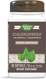 Nature's Way Chlorofresh, Internal Deodorant*, Chlorophyll Concentrate, 100 mg per serving, 90 softgels (Packaging May Vary)