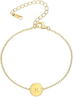 18K Gold Plated Stainless Steel Initial Bracelet Personalized Letter Charm Bracelet Small Dainty Disc Monogram Name Bracelet for Women