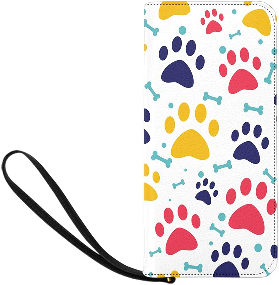 INTERESTPRINT Cat or Dog Paw Animal Footprint and Bones Clutch Purse for Women Evening Party