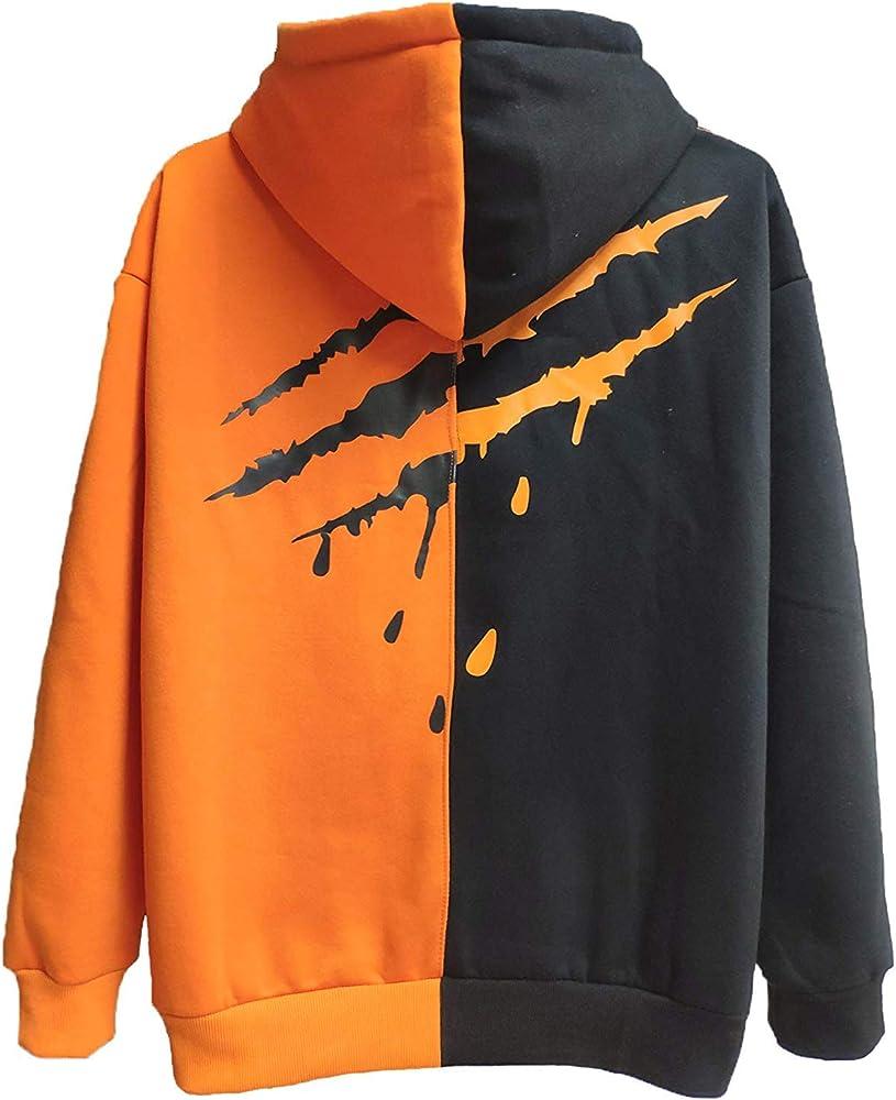 Xiaoyao felpa da uomo con cappuccio 80% cotone 20% poliestere Arancione Nero 2