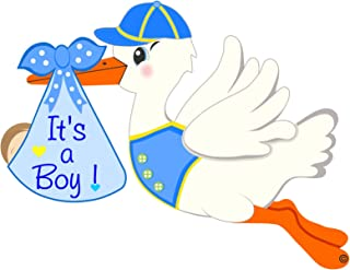 Cute News It's a Boy Stork Announcement Sign - Welcome Home New Baby Hospital Door Hanger - Newborn Shower Party Blue Wreath Decoration - Special Delivery Birth Greeting Banner - Pregnancy Gift