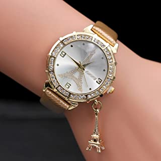 Women Elegant Quartz Watches Fashion Eiffel Tower Rhinestone Wrist Watches with Pendant (Gold)