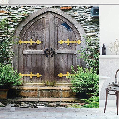 abby-shop Rustikaler Duschvorhang, einzigartiges Schloss-traditionelles Mittelalter-Erbe-Feen-Eingang-Alter-Eingangs-Bild, Braun-Grün