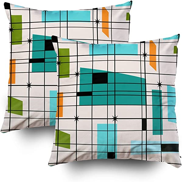 TOMWISH 2 Packs Hidden Zippered Pillowcase Retro Grid And Starbursts Outdoor 20X20Inch Decorative Throw Custom Cotton Pillow Case Cushion Cover For Home