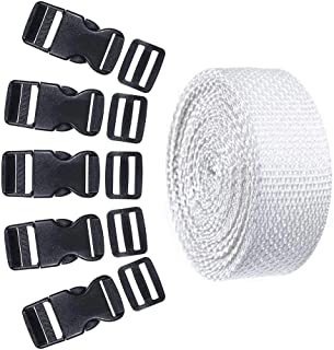 5 Set Each of 1 Inch Flat Side Release Buckles and Tri-Glides with 5 Yards of Nylon Webbing Straps - Ideal for DIY Luggage Straps, Pet Collar, Backpack Repair