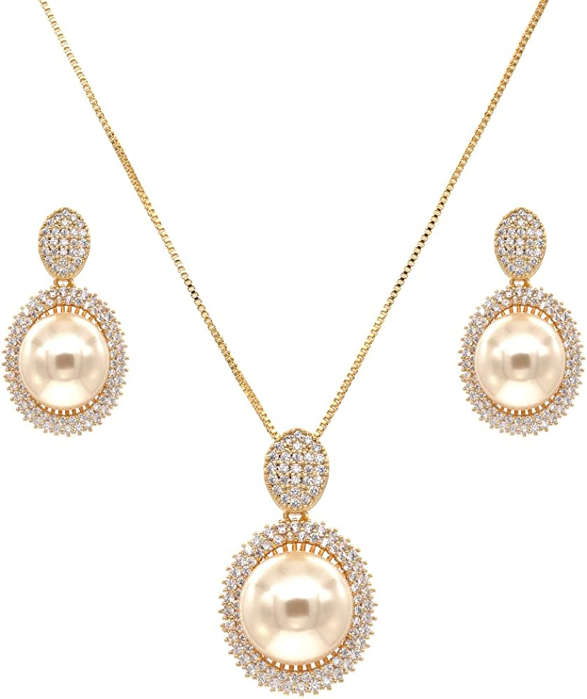 Lavencious Oval New popularity Dangle Jewelry Set Necklace Memphis Mall Color Pearl Cream