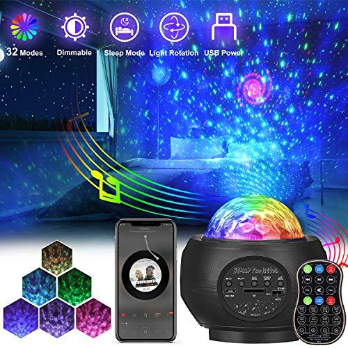 Sternenhimmel Projektor, AMBOTHER LED Projektor Sternenlicht, USB Fernbedienung Nachtlicht, Rotierende Farbwechsel Wasserwellen Projektionslampe, Sterne Musik Lampe mit Timer, für Baby Erwachsene