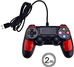 JIULONG Wired PS4 Controller, USB Wired Gamepad Game Controller for Playstation 4 / PS4 Slim / PS4 Pro/PC Playstation 3, Cable Length 6.5ft (Red)