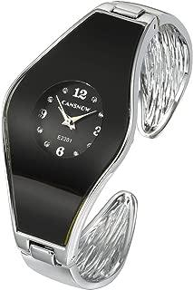 Top Plaza Womens Fashion Silver Tone Analog Quartz Bangle Cuff Bracelet Wrist Watch Arabic Numerals Elegant Dress Jewelry Watches 6 Inches