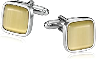 Aokarry Jewelry Stainless Steel Cufflinks for Men, Mens Cufflinks Created-Opal Inlaid with Gift Box