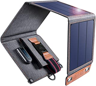 CHOETECH Cargador Solar 14W Panel Solar Cargador Portátil Impermeable Placa Solar Power Bank Compatible con Teléfonos Samsung iPhone Huawei iPad Altavoz Cámara Tableta Altavoz Bluetooth etc.