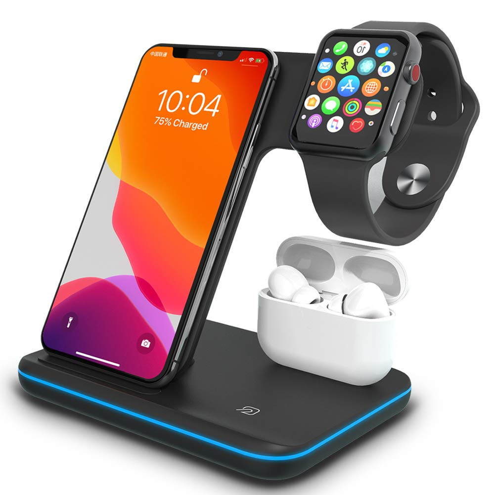 Wireless Charger,TPLISAK 3 in 1 Charging Station for Latest Airpods iPhone and Watch, Compatible with iPhone 11 Series/XS MAX/XR/XS/X/8/8Plus/ Apple iWatch 6/SE/5/4/3/2/1 Airpods 3/2/1