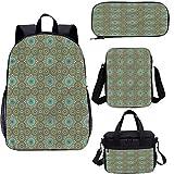 n 17 pulgadas mochila con bolsa de almuerzo conjunto de estuche, diseño de arquitectura ornamentada 4 en 1