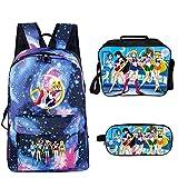 YOYOSHome 3 in 1 Anime Sailor Moon Zaino Bookbag Daypack Lunch Box Astuccio Astuccio Scuola, 1 (blu) - yyyo3