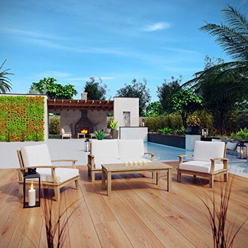 Modway EEI-1469-NAT-WHI-SET Marina Premium Grade A Teak Wood Outdoor Patio Furniture Set, 4 Piece, Natural White