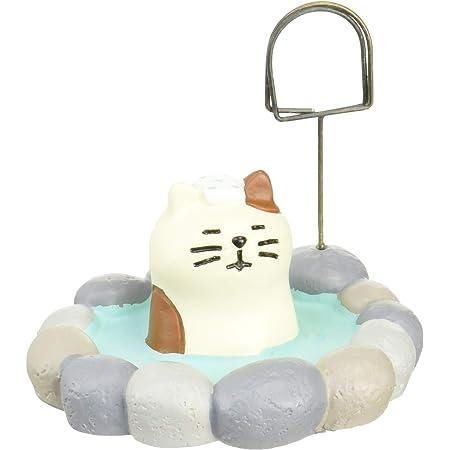 デコレ concombre 置き物 露天風呂猫 三毛猫 ZCB-40204 3.2×5.8×5.0cm ホワイト