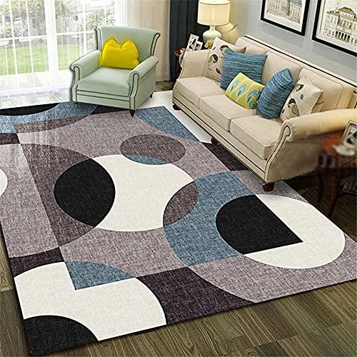 Kunsen Designer Geometrische abstrakte Moderne Teppichwohnzimmer Rug Waschbare und Pflegeleichte dekorative Teppiche Wohnzimmergroßer Teppich Schlafzimmer Rutschfester Teppich Balkon fußbod160x200CM