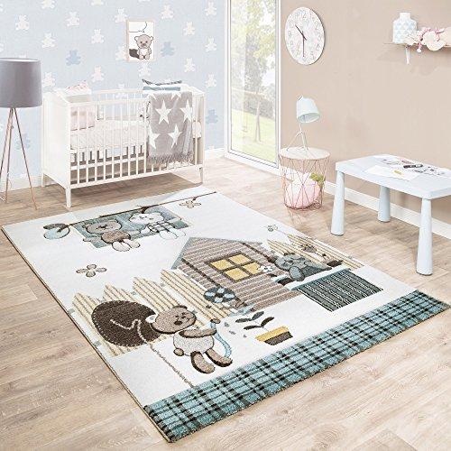 Paco Home Kinderteppich Kinderzimmer Konturenschnitt Bären Design Creme Braun Pastellfarben, Grösse:80x150 cm
