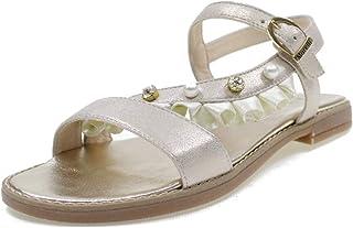 121d9a1df0b8ea Andrea Morelli Sandals en Cuir Made in Italy avec Perles Fille M4A250400  Platine