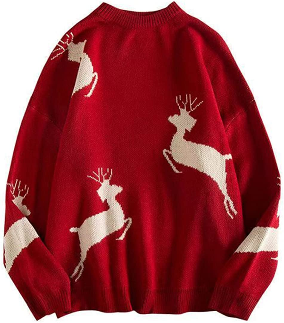 Kteret Men Oversize Autumn Winter Couples Loose Casual Cartoon Deer New Year Sweater