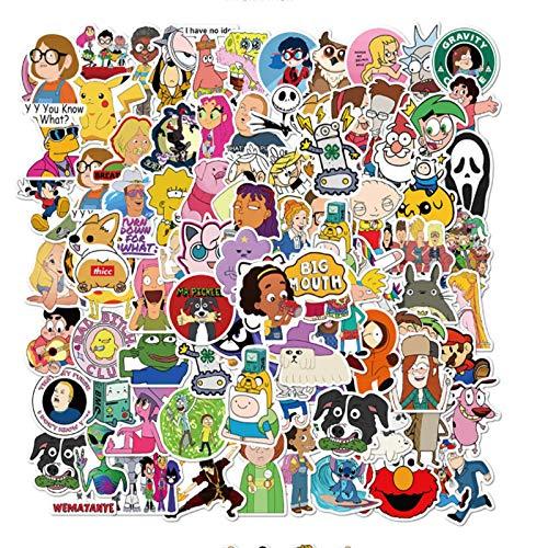 WANGPENG Dibujos Animados Graffiti Impermeable monopatín Maleta de Viaje teléfono portátil Equipaje Pegatinas Lindas 50 Piezas