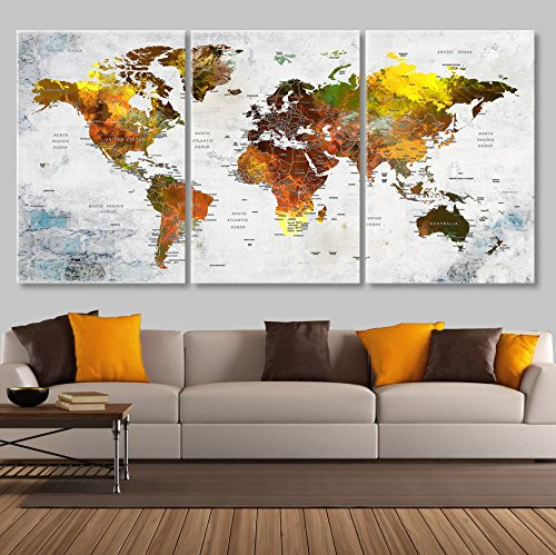 Extra Large Wall Art for Living Room Decoration Canvas Print Push Pin World Map Canvas Sets, Watercolor Map Wall Decal Framed Stetched On Canvas Art Map Of World for Kids Room vk2