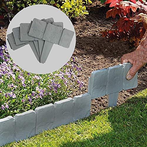 JYWJ Rasenkante mit Pflasterstein-Effekt, Kunststoff, grau, 20 Stück