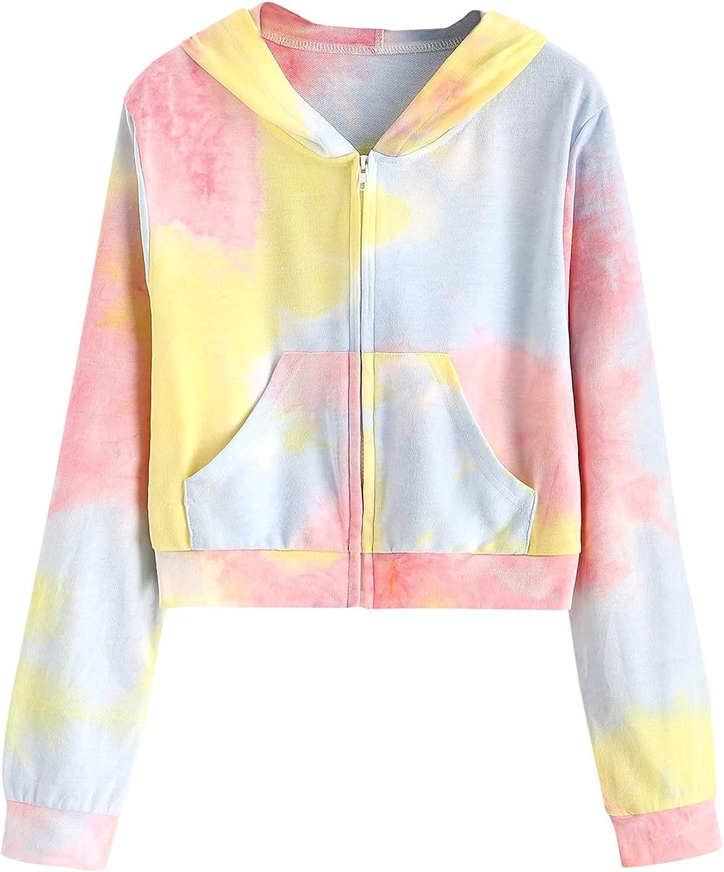 Womens Hoodies Lightweight Casual Long Sleeve Sweatshirts Fashion Zipper Up Tie Dye Print Blouses Teen Girl Crop Tops