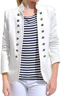 Women Casual Jacket Suit Stand Neck Double Buttons Work Blazer Jacket Coat