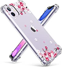 GVIEWIN iPhone 11 Case, Clear Flower Design Soft & Flexible TPU Ultra-Thin Shockproof Transparent Bumper Protective Floral Cover Case for iPhone 11 6.1 Inch 2019 (Peach Blossom/Pink)