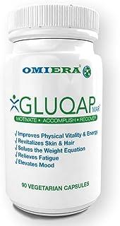 Omiera Gluqap Glutathione Supplement with Resveratrol, Coenzyme Q-10, Vitamin B12 Antioxidant - 90 Capsules