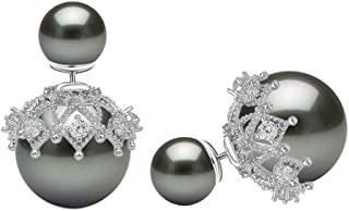 Double Sided Sterling Silver Shell Pearl CZ Charm Stud Earrings for Women and Girls Hypoallergenic