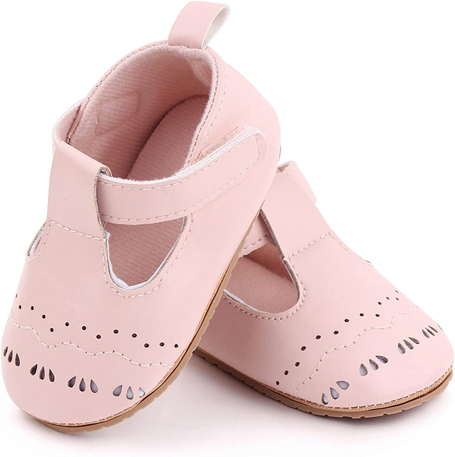 Baby Girls Mary Jane Flats Shoes Infant Sneakers Non-Slip Soft Leather Rubber Sole Toddler First Walkers Princess Shoes